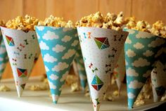popcorn cones, different paper for scary theme