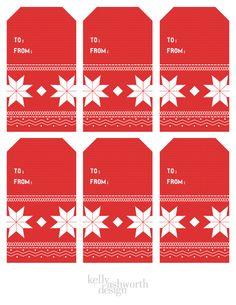 Free printable Christmas sweater gift tags!