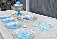 Sea creatures glassware and plates collection. ~ Mod Podge Rocks!