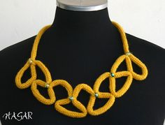 yellow wool, unique design necklace, statement necklace, glass beads, on Etsy, $25.00