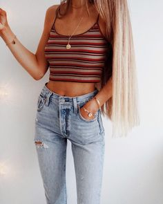 The Definite Guide to Summer Outfits Vol. 6 : 100 Summer Outfits to Copy Right NowWachabuy / striped crop top + jeans Cool Summer Outfits, Spring Outfits, Trendy Outfits, Fashion Outfits, Womens Fashion, Simple Teen Outfits, Chic Outfits, Yoga Outfits, Clubbing Outfits