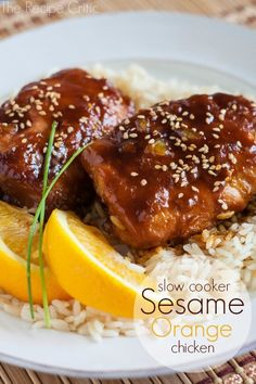 Sesame Orange Chicken by The Recipe Critic. With how hectic the summer time can get, I use my slow cooker just as much as I do in the winter.  This delicious meal for example took 5 minutes to throw into the crockpot!  Thats it!  I was able to run some errands, take my boys swimming, and then we came home to an amazing meal!    The sauce was thick and glazed the chicken perfectly with a hint of orange in it.   The chicken was so tender it just fell apart and it was perfect served over some rice!