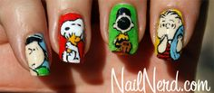 Peanuts comic nail art- this girl is an ARTIST.