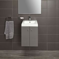 Alpine Duo 400 basin and Wall hung vanity unit - gloss grey image 3 Vanity Units, Vanity Cabinet, Wall Hung Vanity, Quality Cabinets, Cabinet Making, Gray Interior, High Quality Furniture, Basin, Storage Spaces