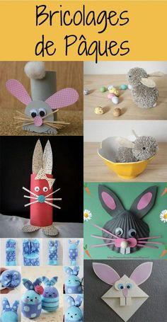 Slideshow: 7 bunny crafts for Easter - Easter crafts for our chicks # DIY - Rabbit Crafts, Bunny Crafts, Easter Crafts For Kids, Diy For Kids, Children Crafts, Easter Ideas, Party Vintage, Plastic Easter Eggs, Paper Basket