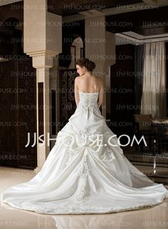 Ball-Gown Sweetheart Cathedral Train Satin Wedding Dress With Embroidery Ruffle Beadwork (002033765)