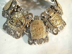 Mexican Solid Silver Bracelet ca. 1950 from blackforestantiques on Ruby Lane
