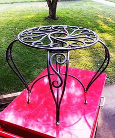 Scroll work planter table hand forged by BlackFrogIronworks, $525.00
