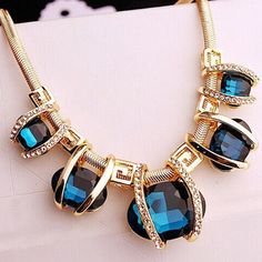 Blue Crystal Fashion Women Pendant Chain Choker Chunky Statement Bib Necklace #Unbranded #Chain
