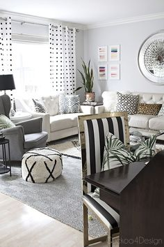 Beautiful living room! Plus, Black and White Brass Parsons Chair Makeover