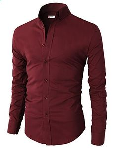 H2H Mens Casual Slim Fit Basic Designed Button Down Shirts WINE US M/Asia L KMTSTL0416  Go to the website to read more description.