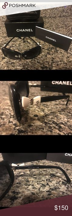 CHANEL Sunglasses Includes Box, Pamphlet and Case Chanel Sunglasses Includes Box, Pamphlet and Case. 100% Authentic. Have been loved, contains a few scratches on the front of the frames as well as the lenses as seen in the picture. Please message for more details or pics! CHANEL Accessories Sunglasses