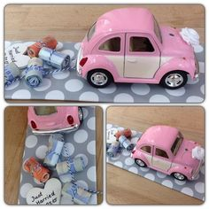 Wedding Gifts Wedding car VW Beetle The stylish money gift to the wedding. The VW Beetle . Diy Gifts Paper, Diy Presents, Diy Wedding Gifts, Wedding Favors, Don D'argent, Creative Money Gifts, Gift Money, Top Wedding Trends, Wedding Car
