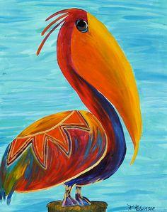Pelican Bird whimsical colorful Tropical KeROBinson Original Fine Art Painting 16x20. $229.00, via Etsy.