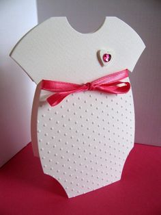 Baby Onesie Creamy Ivory Hand Embossed Card. by aboundingtreasures