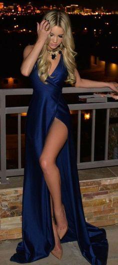 Simple Royal Blue Open Back V-Neck Side Slit Sexy A-Line Prom Dresses #promdressessimple