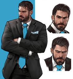 drawing by jang ju hyeon on ArtStation. Male Character, Character Portraits, Character Concept, Suit Drawing, Art Of Man, Hommes Sexy, Handsome Anime Guys, Bear Art, Art Reference Poses