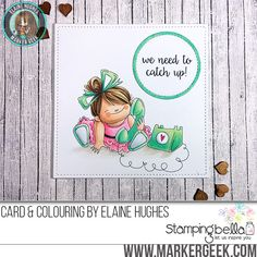 Stamping Bella Chatty Squidgy rubber stamp Card. Click through for full details and a colouring video!
