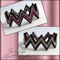 wristband - - Apocalypse Now And Then Black Bracelets, Seed Bead Bracelets, Colorful Bracelets, Seed Beads, Bead Jewellery, Beaded Jewelry, Jewlery, Beadwork Designs, Bracelets