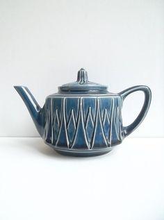 Blue teapot Ceramic teapot 1970s Italian ceramic by BravaVintage