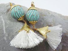 Bohemian Arabesque Tassel Earrings with Vintage by Lylaaccessories, $26.00