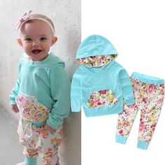 2PCS Set Baby Boys Girls Warm Hooded Tops Cotton Flower Coat Pants Casual Outfits Floral Toddler Baby Girl Clothes