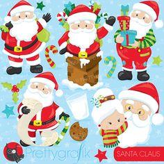 80% OFF Venta Santa clipart comercial por Prettygrafikdesign