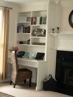 Fireplace With Desk Area Next To It Design, Pictures, Remodel, Decor and Ideas - page 8