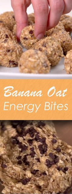 Banana Oat Energy Bites   Here's the perfect on-the-go snack. Packed with healthy ingredients like oats, bananas, almond butter, honey and cinnamon--and a sprinkle of chocolate--it's great for a quick breakfast or midday boost. Bonus! They are super easy to make and can me made ahead of time! Click for the video and recipe. #healthysnacks