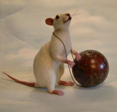 "Weight of the World White Lab Rat  ""Rats Rule"" Series Collection Life Size OOAK Artist Needle felt Sculpture by Stevi T.    Free Shipping by SteviT on Etsy"