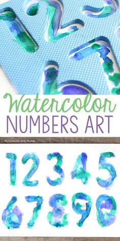 Use watercolors with preschoolers to make these beautiful Watercolor Number Art Prints!