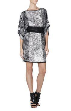 BCBGMAXAZRIA Lois Print-Blocked Kimono Dress   BCBG.com