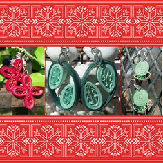 Small paper quilled earrings.  Perfect gift for her this holiday season.  Super unique, super lightweight, made from paper! #giftforher #christmasgiftforher #christmasgift #giftsforher #giftsforwomen #giftforwoman #jewelrygift #earringsgift #paperearrings #paperjewelry #uniquejewelry #ecofriendlyjewelry #ecofriendlyearrings #ecoconscious #ecochic #smallearrings #greenearrings #redearrings #dangleearrings #christmas2015 #secretsanta #grabbag #christmasgiftideas #giftideas #giftsforher