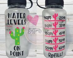 Bottoms Up Boutique von BottomsUpBtq bottle crafts diy Water Bottle Crafts, Cute Water Bottles, Water Bottle Design, Diy Tumblers, Custom Tumblers, Water Bottle Tracker, Gym Bottle, Cactus Water, Custom Cups