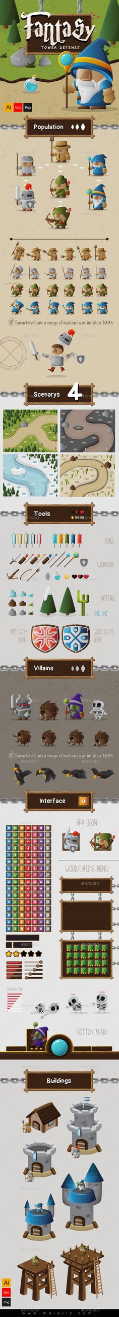 Fantasy Tower Defense Assets  EPS Template • Download ➝ https://graphicriver.net/item/fantasy-tower-defense-assets/9423242?ref=pxcr