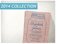 Blue Red Rustic Burlap Mason Jar Wedding Invitations