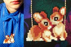 bunny hug Necklace little hama beads unique design by tructoc, €45.00