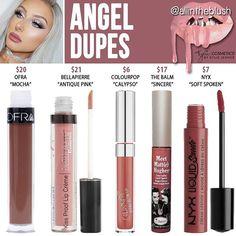 #ANGEL DUPES More details and swatches on allintheblush.com #allintheblush #makeupslaves #trendmood #vegas_nay #makeup #beauty #hudabeauty #slave2beauty #insta_makeup #norvina #glamrezy #amrezy #makeupartist #motd #mua #makeupaddict #wakeupandmakeup #kyliejenner #kyliecosmetics #dupethat #dupe #lipstick