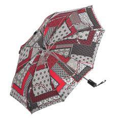 Paraguas originales online. Paraguas MP patchwork mujer rojo. Plegable y antiviento sistema windproof. Apertura y cierre automático. Ligero compacto. Alto 28 cm