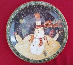"Susan Winget Folk Snowman Dinner Plate 10.5"" Certified International Christmas | eBay"
