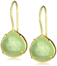 "Coralia Leets Jewelry Design ""Riviera Collection"" Mini French Wire Prong Earrings Green Chalcedony - designer shoes, handbags, jewelry, watches, and fashion accessories 