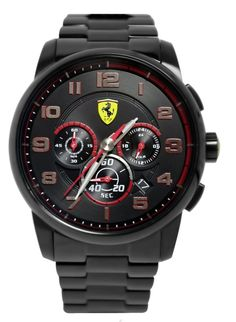 Ferrari scuderia heritage chronograph black dial black stainless steel men watch.