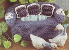 Decorative Couch Tissue Box Cover Crochet Pattern Instructions
