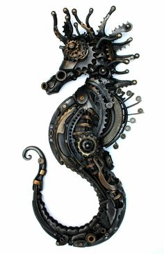 Animals Sculptured with Recycled and Upcycled Metal - Steampunk Seahorse. Animals Sculptured with Recycled and Upcycled Metal. To see more art and inform - Design Steampunk, Chat Steampunk, Steampunk Kunst, Style Steampunk, Victorian Steampunk, Steampunk Fashion, Steampunk Clothing, Fashion Goth, Steampunk Crafts