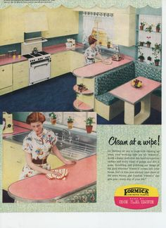 Vintage Formica® ad. Really like the rack above the stove!