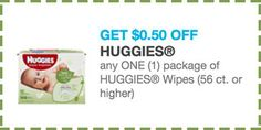 Save 50¢ off any one (1) package of Huggies wipes (56 ct or higher)