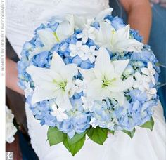 Blue and white bouquet. Looks stunning if you have a blue bouquet and your bridesmaids have blue dresses and white bouquets :) White Lily Bouquet, White Wedding Bouquets, Blue Bouquet, Bride Bouquets, Purple Wedding, Wedding Flowers, Purple Bouquets, Flower Bouquets, Bouquet Wedding