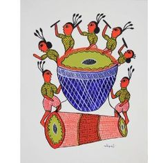 Indian folk art paintings in the style of Gond