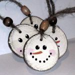 Snowman Christmas Ornament – Double Sided – Wooden Rustic Tree Decor from RusticCharmDesign on Etsy.com
