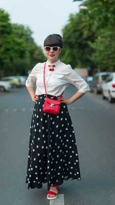 maxi dotted skirt